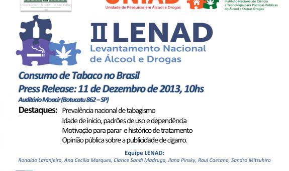 Divulgação dos dados do II LENAD - Consumo de Tabaco no Brasil