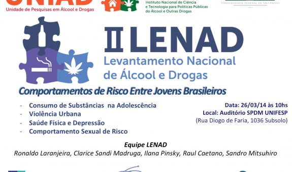 II LENAD - COMPORTAMENTOS DE RISCO ENTRE JOVENS BRASILEIROS - 26 de Março às 10.30 Auditório EPM